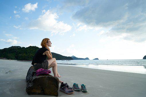 Woman, Tourist, B Add, Beach, Only, Single, Sad