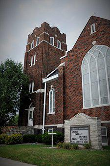Old, Church, Exterior, Methodist, Brick, Stained Glass
