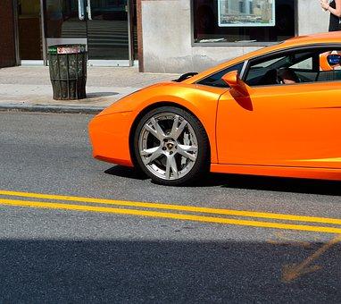 Lamborghini, Extreme Sports, Tangerine, Wheel, Car