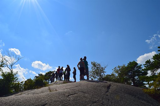 Mountain, People, Tree, Sky, Hikers, Park, Landscape