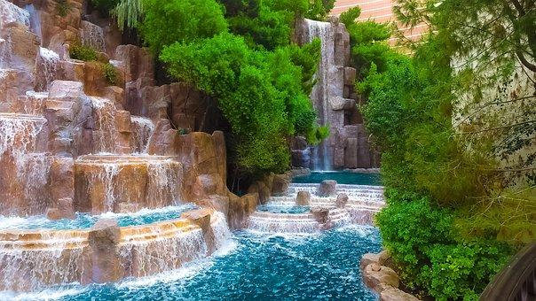 Lasvegas, Waterfall, Lv, Usa, Nevada, Holidays, Canon