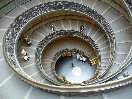 Vatican Museum, Stairs, Art, Famous, Shape, Design