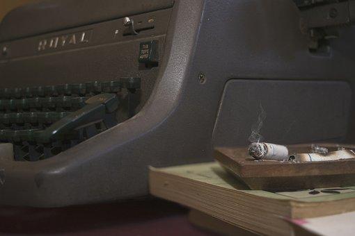 Cigar, Vintage, Typewriter, Old, Wood, Coffee, Years