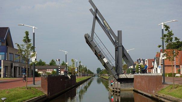 Lift Bridge, Bridge, Open Bridge, Channel, Water