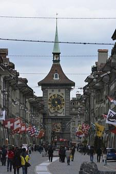 Bern, Alley, Human, Road, Crowd, Flags, Live, District