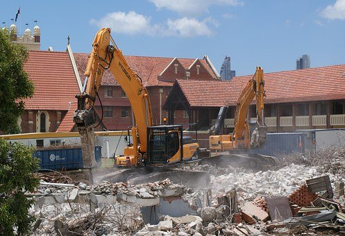 School, Demolition, Southport, Australia, Bulldozer