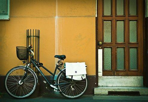 Facade, Bike, Front Door, Urban, City, House Facade