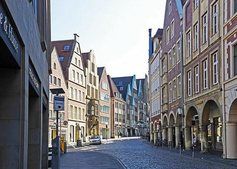 Münster, Westfalen, Old Town, Rye Market, Bow Street