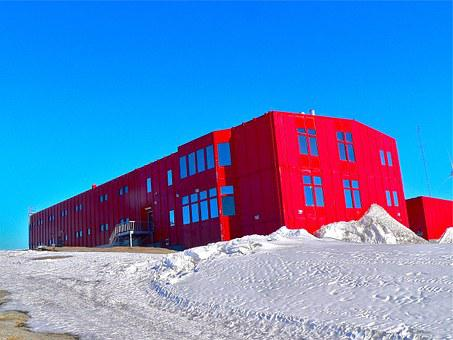 Research Station, Red, Building, Architecture, Cold