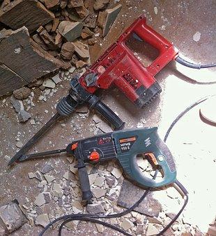 Hammer Drill, Chisel, Debris, Site, Building Rubble
