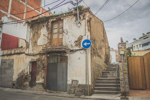 Street, Cloudy, House, Casa Vieja, Old Street, Signal