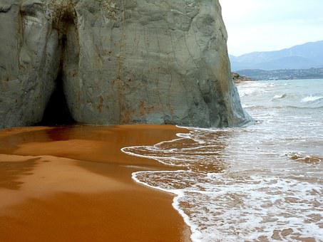 Sea, Sand, Red, Cliff, Water, Beach, Greece, Wave