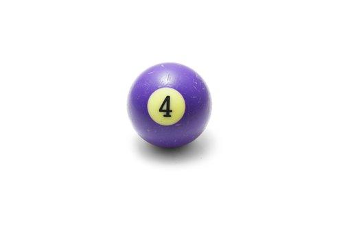 Ball, Yellow, Pool, Closeup, Life, Symbol, Four, Cutout