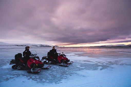 Snowmobiles, Glacier, Snow, North Pole, Nature