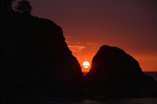 Sunset, Lee, Devon, Rocks, Sea, Water, Red, Heaven