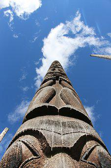 Stake, Totem Pole, Indians, Wild West, North America