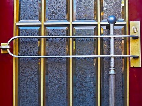 Door, Glass, Input, Old, Golden, Input Range