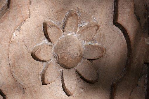 Door, Input, Detail, Flower, India, Precious Wood, Wood