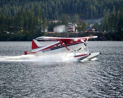 Float Plane, Seaplane, Flying, Aerial, Alaska, Lake