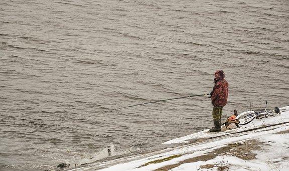 Fishing, Man, River, Rod, Volga, Snow, Winter, Hobby