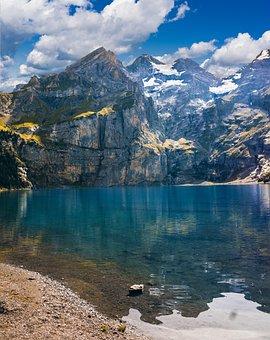 Lake, Mountains, Landscape, Nature, Lake Oeschinen