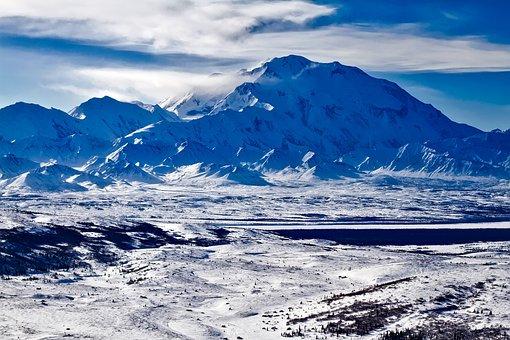 Denali, National Park, Alaska, Mt, Sky, Clouds