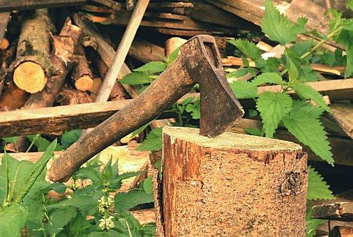 Axe, Old, Lumberjack, Blade, Background, Log, Chop