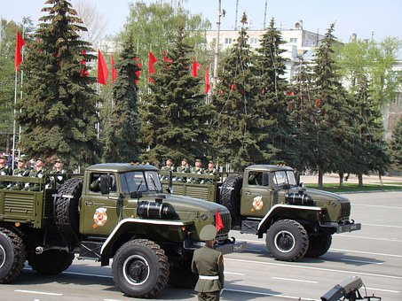 Parade, Victory Day, Samara, Russia, Area, Zil 131