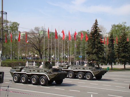 Parade, Victory Day, Samara, Russia, Area, Btr 70