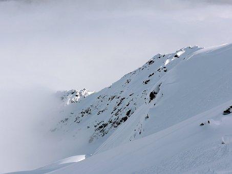Mountain, Snow, Peak, Winter, Fog, Mist, White, Blue