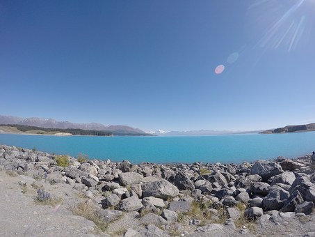 New Zealand, Go-pro, Lake, Pond, Mountains, Wide