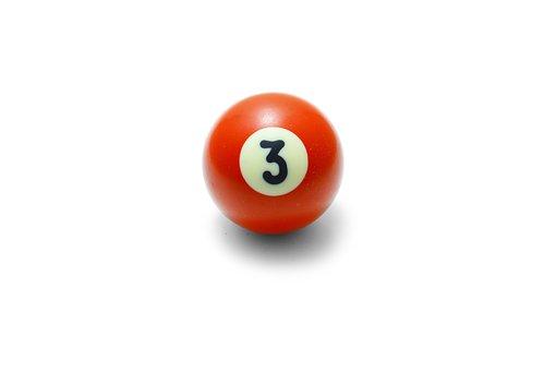 Ball, Yellow, Pool, Closeup, Life, Symbol, Three