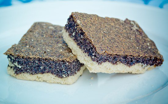 Poppy-seed Cake, Sheet Cake, Poppy Seeds, Piece Of Cake