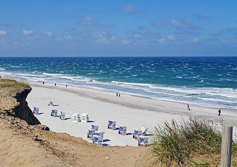 Sylt, North Sea, Beach, Red Cliff, Beach Chair, Surf
