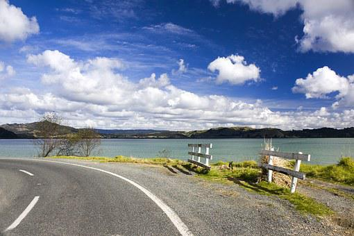 Lake, Whites, Clouds, Blue Sky, Road, Path, Pen