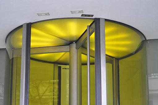 Rotating Door, Architecture, Modern, Yellow, Light