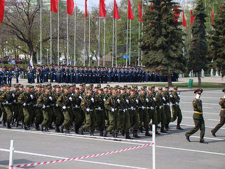 Parade, Victory Day, Samara, Russia, Area, Troops