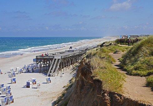 Sylt, Beach, Kampen, Clubs, North Sea, Sea, Dunes