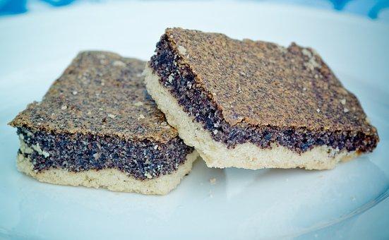 Poppy-seed Cake, Sheet Cake, Poppy Seeds, Piece Of Cake