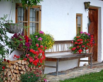 Bench, Home, Facade, Out, Sit, Bank, Garden, Hof