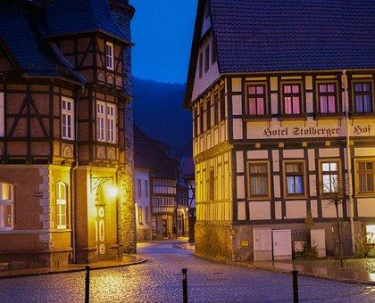 Stolberg, Blue Hour, Resin, Fachwerkhäuser