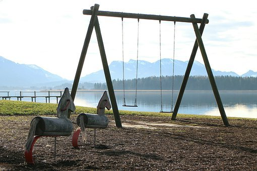 Swing, Rock, Playground, Play, Chains Swing