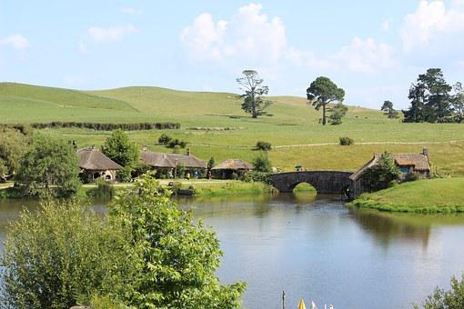 Bridge, Hobbiton, Tourism, New Zealand, Travel, Lake