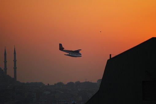Istanbul, Turkey, Sunset, Seevogel, Seaplane