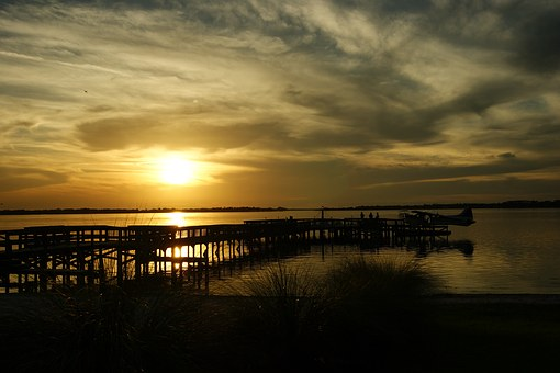 Florida, Mount Dora, Abendstimmung, Seaplane, Web