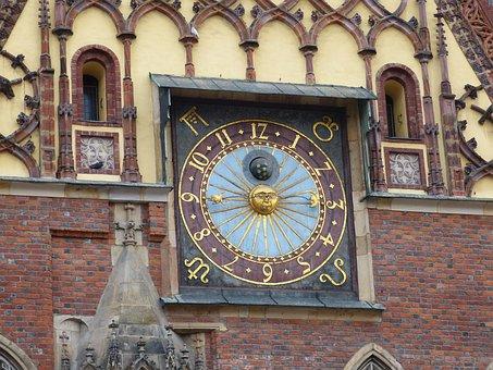 Town Hall, Clock, Clock Face, Wroclaw, Poland, Silesia