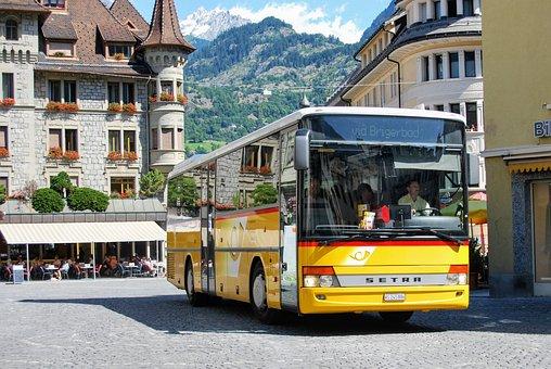Bus, Public Transport, City, Switzerland