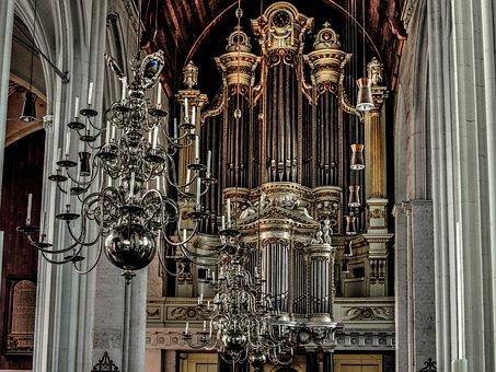 Church Organ, Organ Pipes, Chandelier, Organ