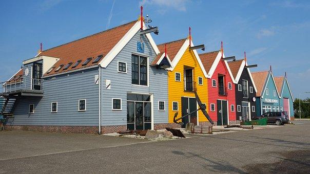 Cottages, Row, Coloured, Multicolour, Colourful Houses