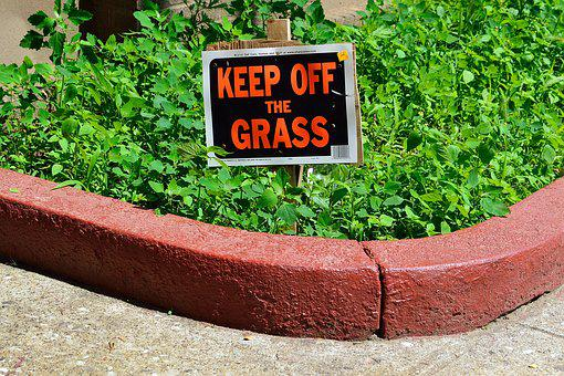 Keep Off Grass Sign, Sign, Lawn, Brick, Grass, House